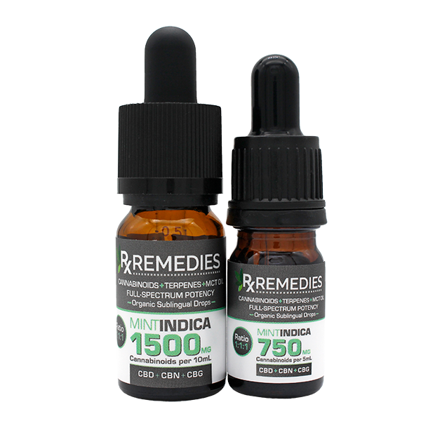 Rx Remedies, MultiCannabinoid, Mint, 150mg/mL, Indica, Anxiety Relief, Pain Relief, Inflammatory Relief, Insomnia Relief