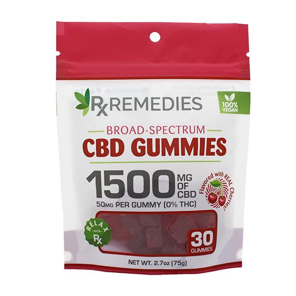 Rx Remedies, Broad-Spectrum CBD Gummies, Vegan, Cherry