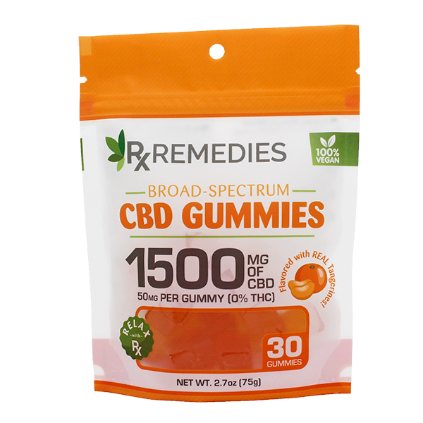 Rx Remedies, Broad-Spectrum Gummies, 50mg, Tangerine